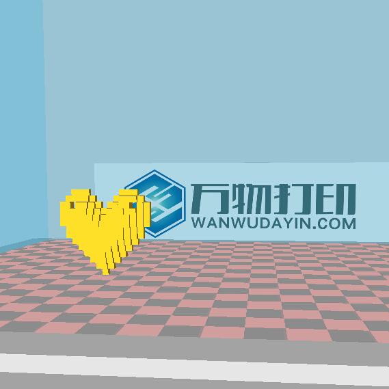 3D打印 像素心形吊坠模型图片、模型下载、STL文件下载