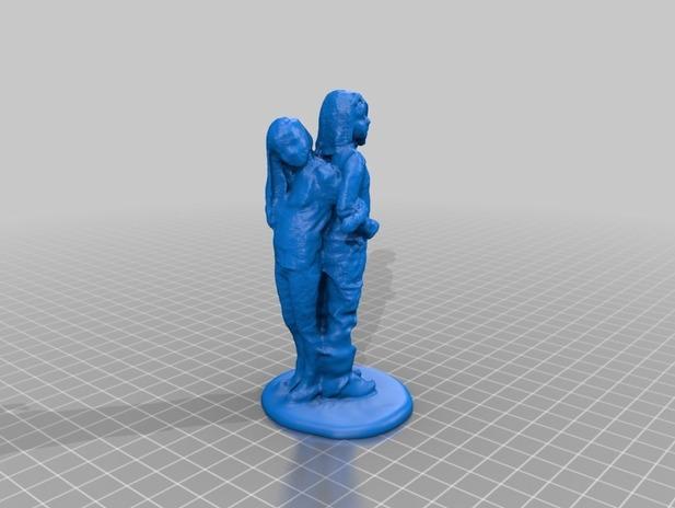 3D打印 背靠背人像模型图片、模型下载、STL文件下载