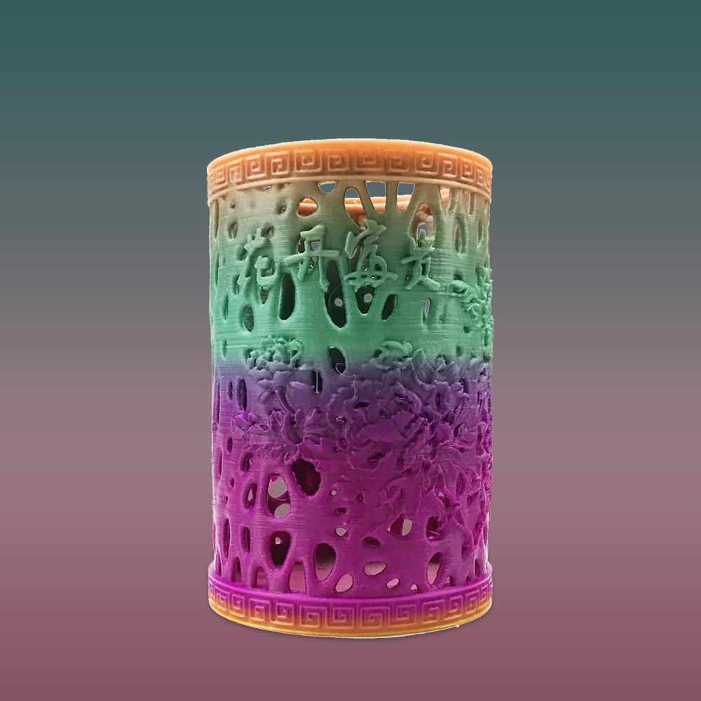 3D打印镂空笔筒(花开富贵)
