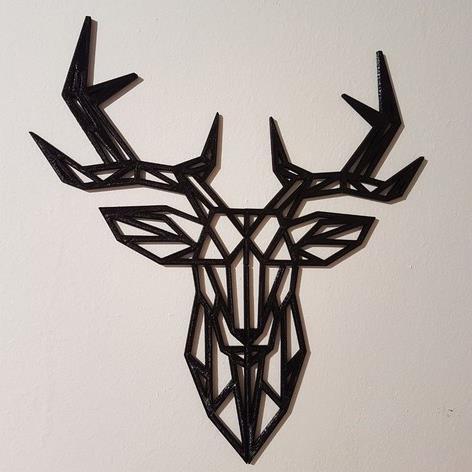 3D打印几何鹿墙雕塑