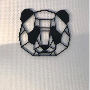 3D打印几何熊猫墙雕塑